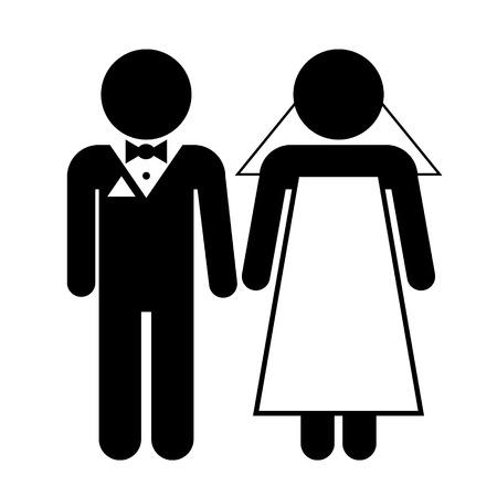 Wedding couple on white background. Vector illustration.