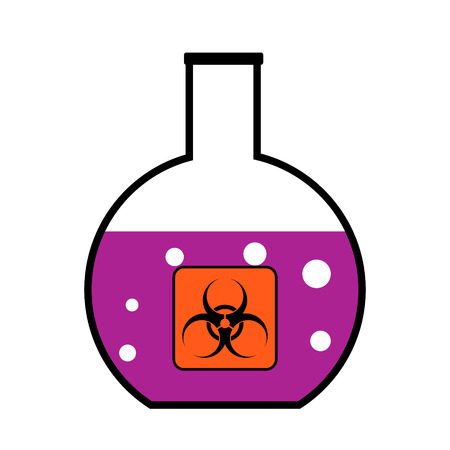 harmful to the environment: Laboratory flask with biological weapons on white background. Vector illustration. Illustration