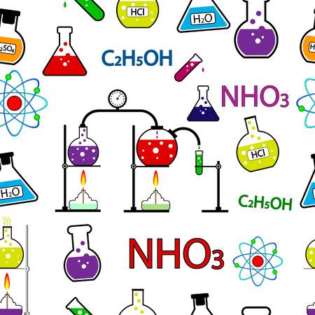 Patrón de la química inconsútil. Ilustración del vector.