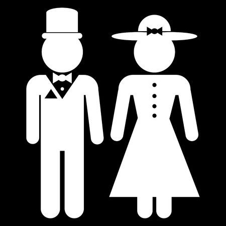 gents: Icons of men and women in retro style on black background. Vector illustration.