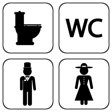 WC icons on white background. Vector illustration. Vector