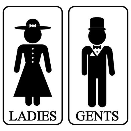 washroom: Iconos de hombres y mujeres en estilo retro. Ilustraci�n del vector.