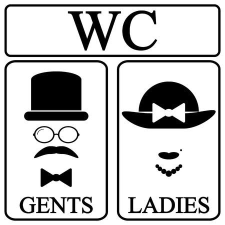 gents: Male and female restroom symbol icons in retro style. Vector illustration. Illustration