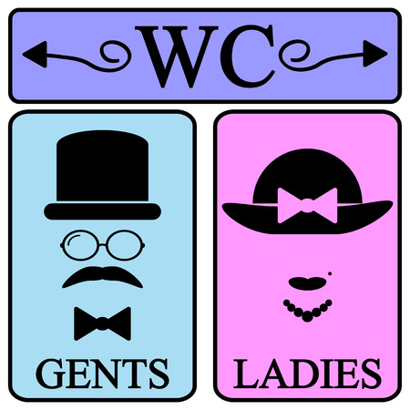 Male and female restroom symbol icons in retro style. Vector illustration.
