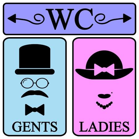 Mannelijke en vrouwelijke toilet symbool pictogrammen in retro stijl. Vector illustratie. Stock Illustratie