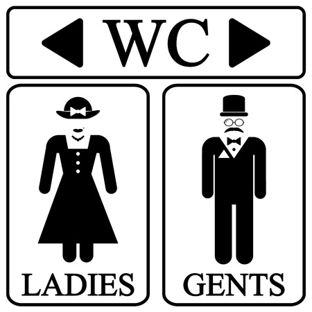 washroom: Male and female restroom symbol icons in retro style. Vector illustration. Illustration