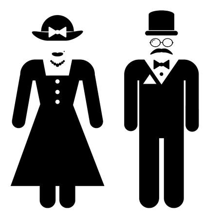 mujer hombre: Iconos s�mbolo de ba�o masculinos y femeninos en estilo retro. Ilustraci�n del vector.