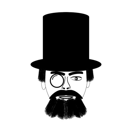 Retro man portrait in a top black hat on white background. Vector illustration. Vector