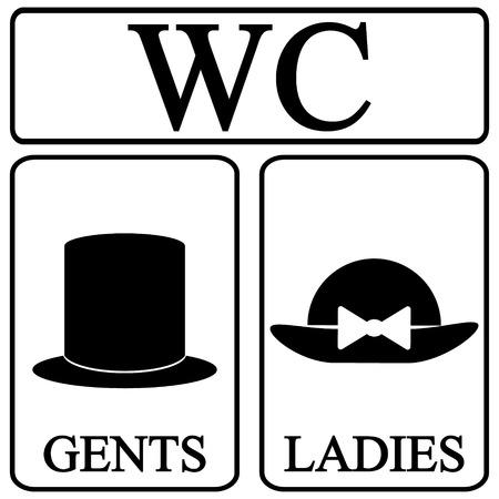 Mannelijke en vrouwelijke toilet symbool pictogrammen in retro stijl. Vector illustratie. Stockfoto - 29727203