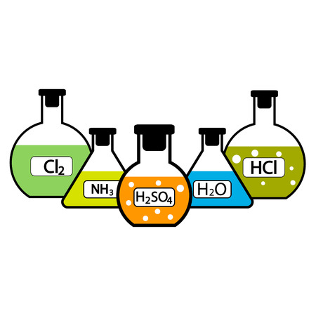 hydrochloric: Laboratory flasks with chemicals on white background. Vector illustration. Illustration