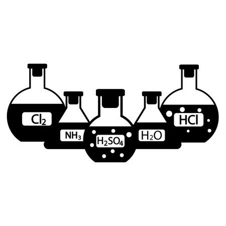 amoniaco: Frascos de laboratorio con los productos químicos en el fondo blanco. Ilustración del vector. Vectores