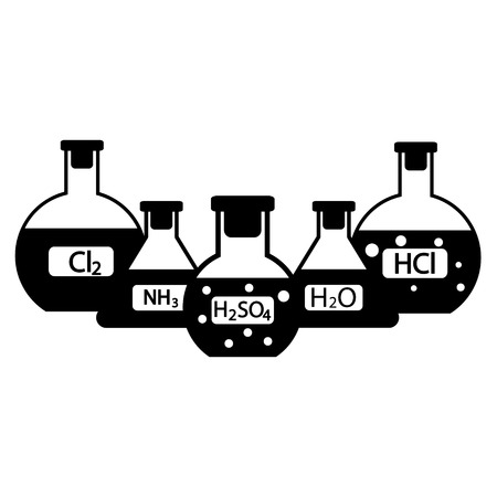 Laboratory flasks with chemicals on white background. Vector illustration. Stock Illustratie