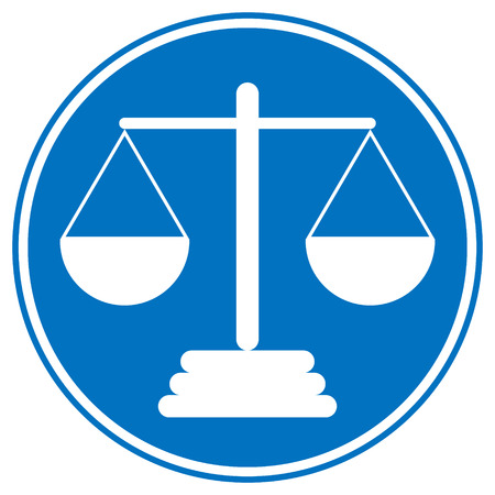 magistrate: Scale icon on white background. Vector illustration.