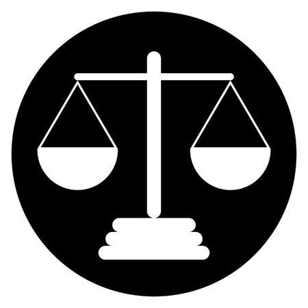 acquittal: Scale icon on white background. Vector illustration.