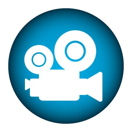 Video camera button on white background. Vector illustration. Ilustração