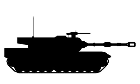 panzer: Modern heavy tank on white background. Vector illustration.