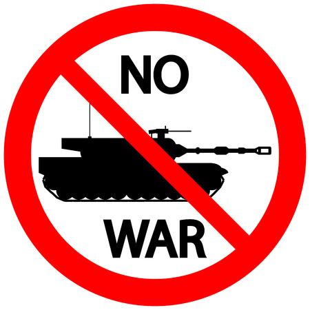 panzer: No war sign with modern tank on white background. Vector illustration.