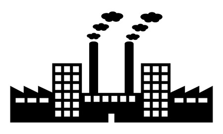 Factory icon on white background. Vector illustration. Vector