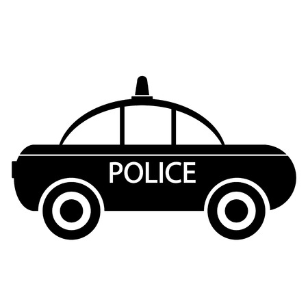 highway patrol: Police car icon on white background illustration