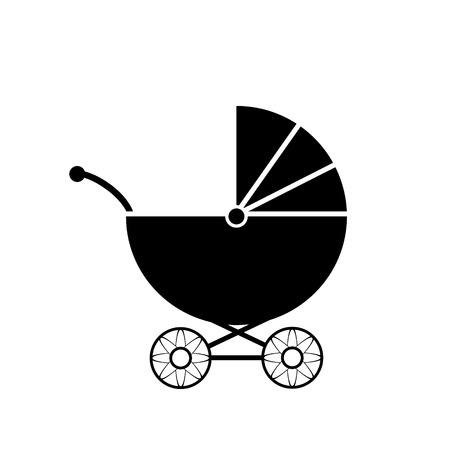nursing mother: Icono del cochecito de ni�o en el fondo blanco ilustraci�n.