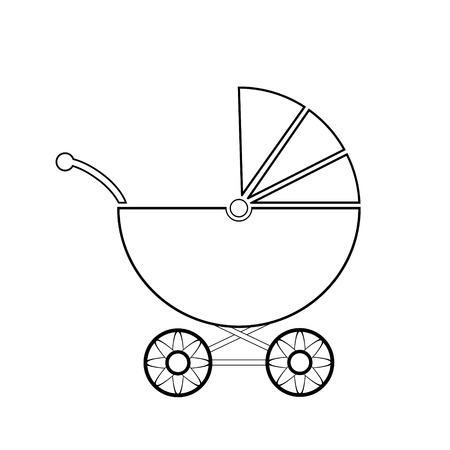 nursing mother: Icono del cochecito de ni�o en el fondo blanco. Ilustraci�n del vector.