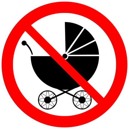 nursing mother: No hay se�ales cochecito en el fondo blanco. Ilustraci�n del vector.