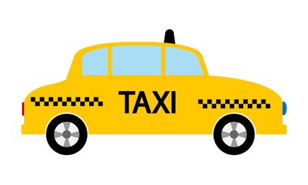 conveyance: Taxi car icon on white background. Vector illustration.
