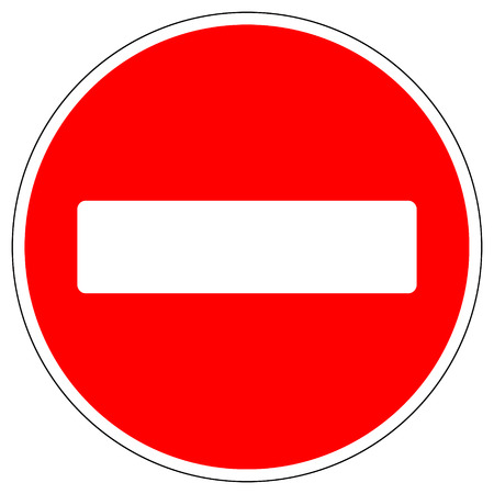 brick sign: No entry road sign on white background. Vector illustration.
