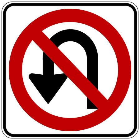 Geen U-bocht verkeersbord op een witte achtergrond. Vector illustratie. Stock Illustratie