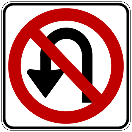 u turn: No U turn road sign on white background. Vector illustration.