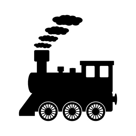 steam locomotives: Locomotive icon on white background. Vector illustration.