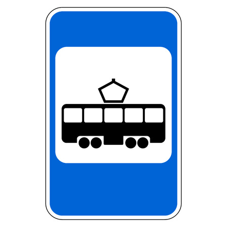 tramway: Road sign tram stop on white background. Vector illustration. Illustration