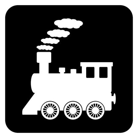 Locomotive button on white background. Vector illustration. Illustration