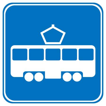 Road sign tram stop on white background. Vector illustration. Illustration