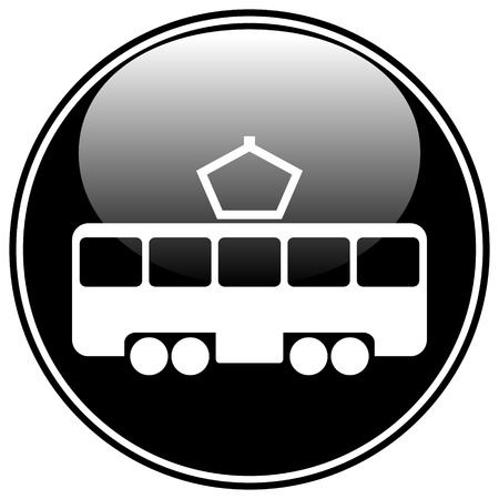 tramway: Tram button on white background. Vector illustration.