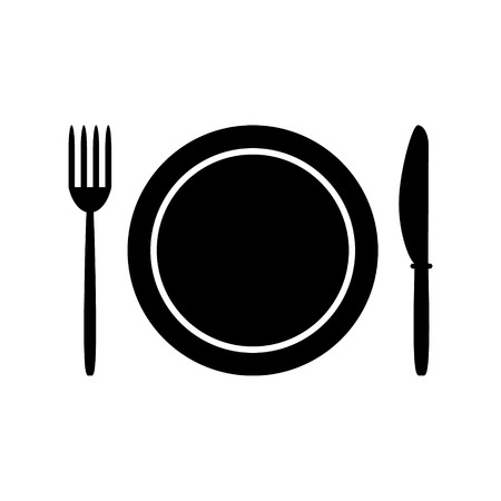 Fork, plate and knife isolated on white background  Vector illustration