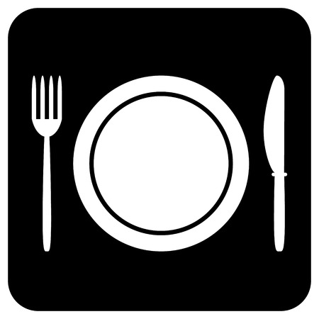 Fork, plate and knife button isolated on white background  Vector illustration  Vector