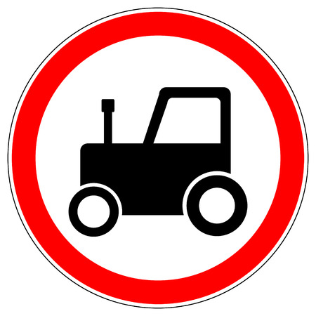 No tractor road sign on white background. Vector illustration.