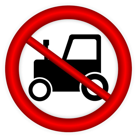 No tractor road sign on white background. Vector illustration. Vector