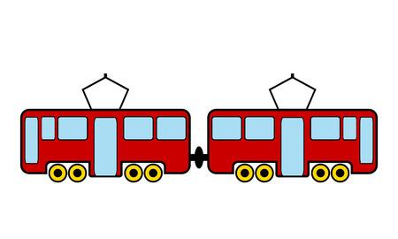 Tram icon on white background. Vector illustration.