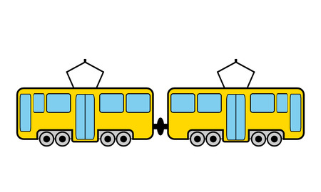 transit: Tram icon on white background. Vector illustration.