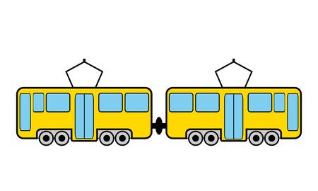 tramway: Tram icona su sfondo bianco. Illustrazione vettoriale.
