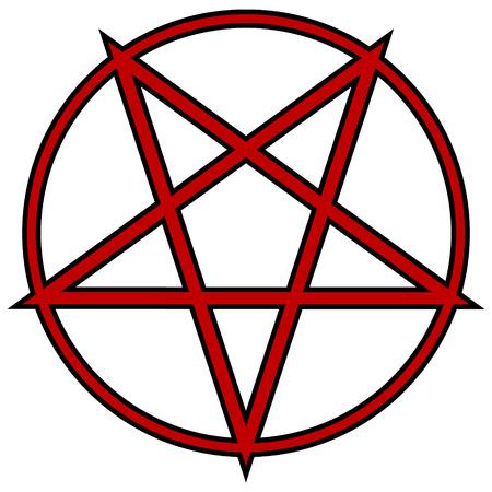 satan: Pentagram icon on white background. Vector illustration.
