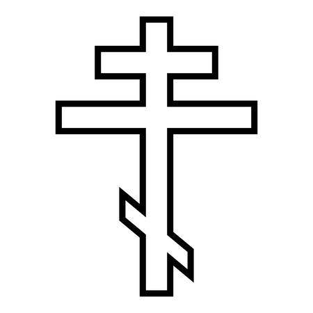 Religious orthodox cross on white background. Vector illustration.