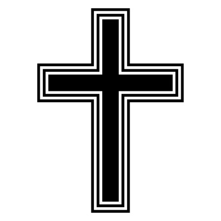 Religious cross on white background. Vector illustration. Ilustração