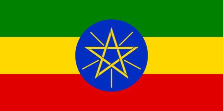 green flag: Flaf of Ethiopia. Vector illustration.