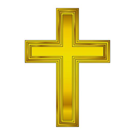 gold cross: Religious gold cross on white background. Vector illustration.