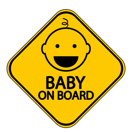 forewarning: Baby on board sign on white background. Vector illustration.