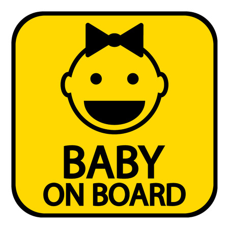 Baby on board sign on white background. Vector illustration. Vector