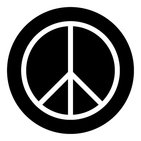 disarmament: Peace symbol button on white background. Vector illustration.